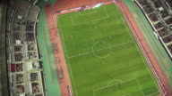 WS ZO AERIAL View of playing a soccer game in hwaseong sports complex at night / hwaseong, gyeonggi-do, South Korea