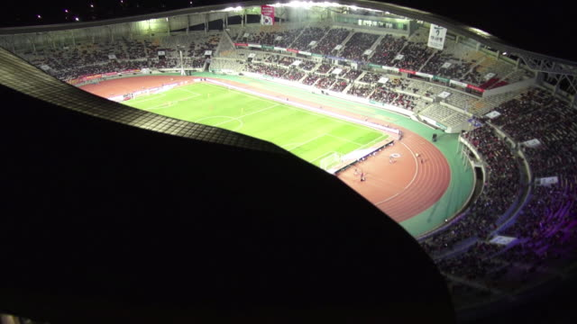 WS AERIAL View of playing soccer game in hwaseong sports complex / hwaseong, gyeonggi-do, South Korea