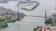 WS AERIAL View of port and bridge on river at Hamburg / Germany