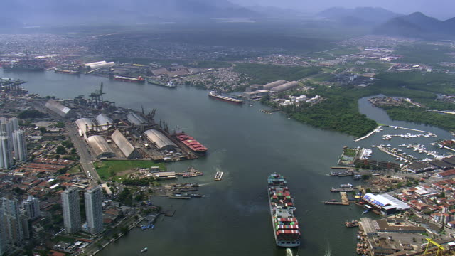 Ws Aerial View Of Port And City Sao Paulo Brazil Stock ...
