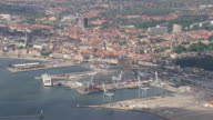 WS AERIAL ZO View of port / Arhus, Denmark