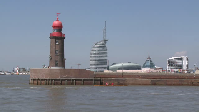 WS View of port entrance with lighthouse / Bremerhaven, Bremen, Germany