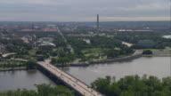 WS AERIAL View of Potomac River with Washington Monument / Washington, Dist. of Columbia, United States