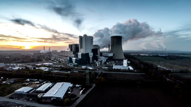 AERIAL view of Power Plant at Sunset