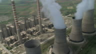WS AERIAL DS View of Power plant smoky Chimneys in Kozani / Kozani, Macedonia, Greece