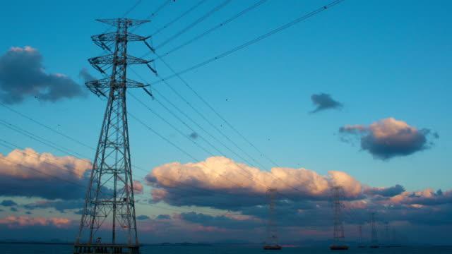 WS T/L View of power transmission tower in Daebudo Island / Ansan, Gyeonggido, South Korea