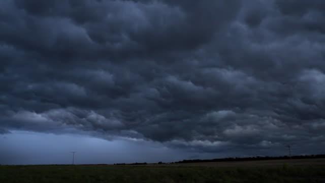 WS PAN View of prairie and storm clouds / Haviland, Kansas, USA