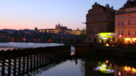 MS View of prauge city near vltava river at night / Prague, Hlavni mesto Praha, Czech Republic