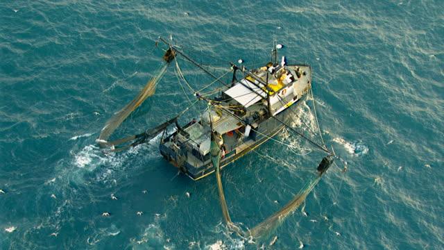 WS AERIAL ZO TS View of prawn fishing boat / Darwin, Northern Territory, Australia
