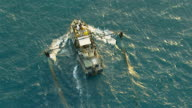 WS AERIAL ZI ZO View of prawn fishing boat / Darwin, Northern Territory, Australia