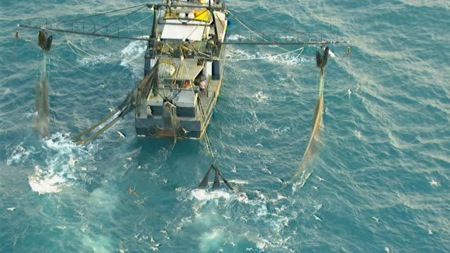 WS AERIAL ZI View of prawn fishing boat / Darwin, Northern Territory, Australia