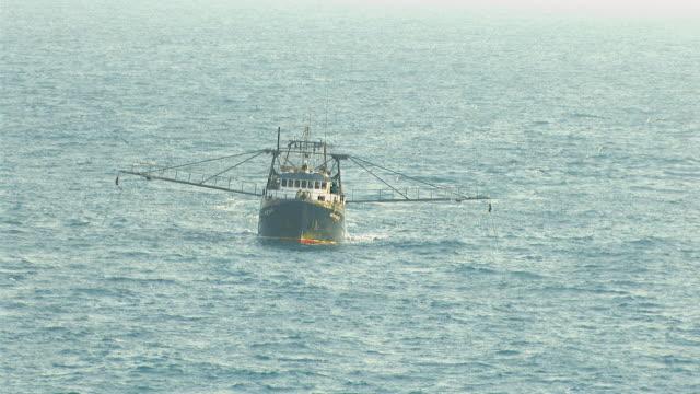 WS AERIAL View of prawn fishing boat / Darwin, Northern Territory, Australia