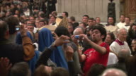 WS TS PAN ZO View of procession for Pope to St Peter's Basilica / Vatican City, Vatican