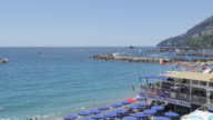 View of promenade and beach, Amalfi, Costiera Amalfitana (Amalfi Coast), UNESCO World Heritage Site, Campania, Italy, Europe