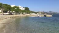 WS View of promenade in town / Puerto Pollenca, Mallorca, Balearic Islands, Spain