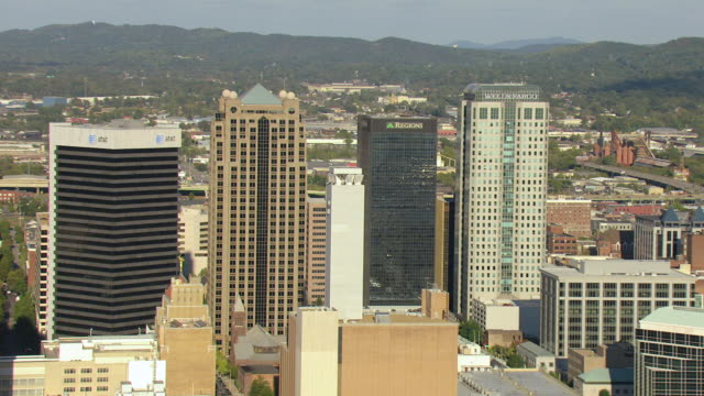 WS AERIAL View of push in skyscrapers of Wells Fargo and Regions Bank / Birmingham, Alabama, United States