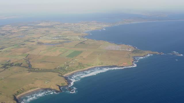 WS AERIAL ZI View of Pyramid Rock festival at Phillip Island / Phillip Island, Victoria, Australia
