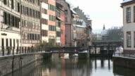 MS View of  quai des moulins twon near river / Strasbourg, Alsace, France