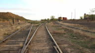 WS PAN View of railroad cars on track / Lamy, New Mexico, United States