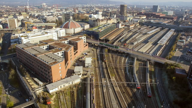WS AERIAL View of Railway and Train Station / Basel, Switzerland