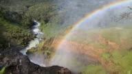 WS View of Rainbow over jungle and river / Campo Novo do Parecis, Mato Grossso, Brazil