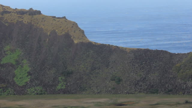 WS View of Rano Kau Volcano / Rapa Nui National Park, Easter Island, Chile