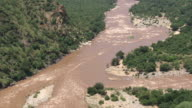 MS AERIAL DS View of rapidly flowing river / Polokwane, North West Province, South Africa