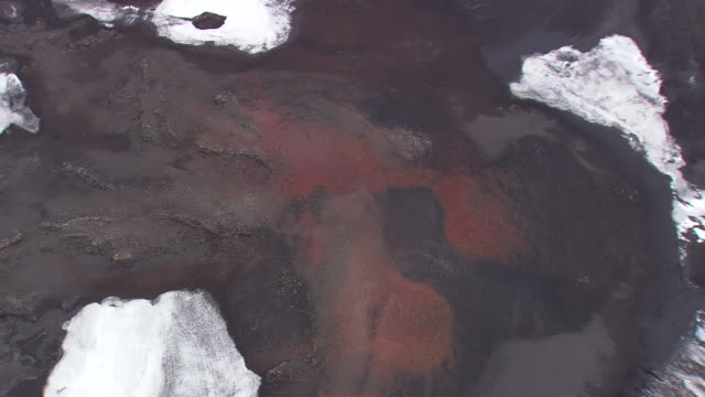 WS AERIAL View of red lava plain / Iceland