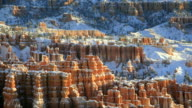 WS PAN View of red rock spires after winter storm / Bryce Canyon NP, Utah, United States