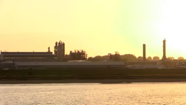 WS T/L POV View of refinery near Stade near river Elbe, Niedersachsen, Germany / Hamburg, Germany