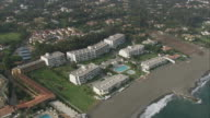 WS POV AERIAL View of resorts along coast / Marbella, Andalusia, Spain