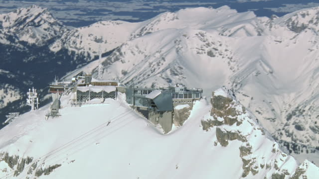 WS AERIAL View of restaurant on mountain top / Zugspitze, Bavaria, Germany