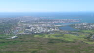 WS AREAIL View of Reykjavik city in front of ocean / Iceland