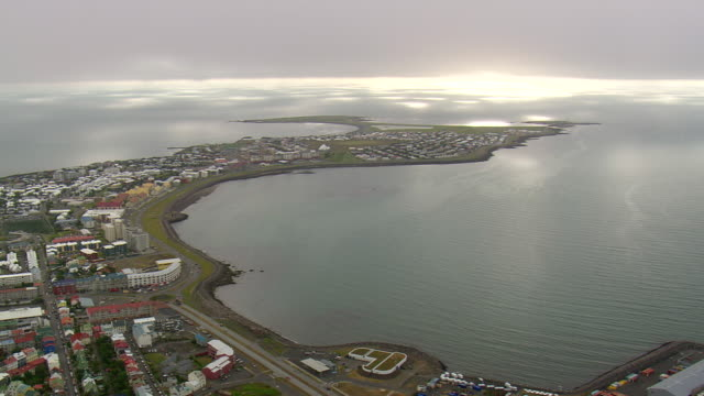 WS AERIAL View of Reykjavik city on island / Iceland