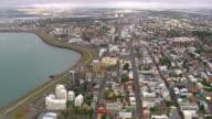 WS AERIAL View of Reykjavik downtown / Iceland