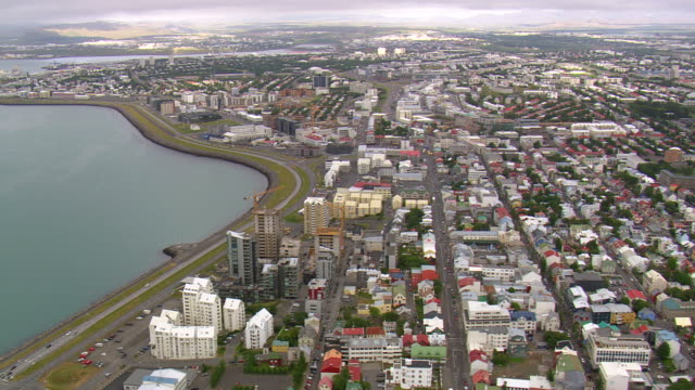 WS AERIAL View of Reykjavik downtown / Iceland