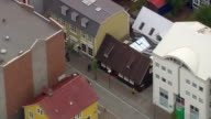 MS AERIAL View of Reykjavik's oldest house / Iceland