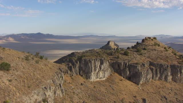 MS AERIAL View of ridge to landscape southwest of Great Salt lake en route from Salt lake City to Bonneville Salt Flats / Utah, United States