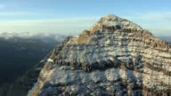 MS DS ZI AERIAL View of rigid edges of maroon bells mountain with snow in pitkin county / Colorado, United States