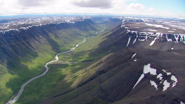 WS AERIAL View of river flowing through valley / Iceland