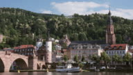 WS View of River Neckar, Alte Brucke (Old Bridge) and Heiliggeistkirche (Church of the Holy Spirit) / Heidelberg, Baden-Württemberg, Germany