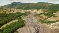 WS AERIAL View of riverbed with small stream / Washington, United States