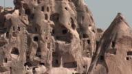 MS TU View of rock cut houses / Cappadocia, Nevsehir province, Turkey