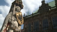 WS View of Roland statue at market square and city hall / Bremen, Germany