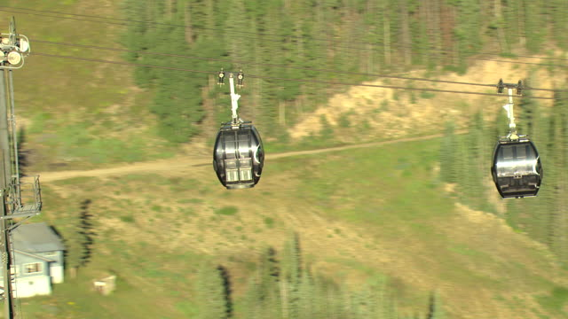 MS ZO AERIAL View of ropeway trolley and sun shining with trees / Aspen, Colorado, United States