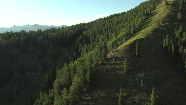 MS AERIAL View of ropeway trolley on tree filled mountain side / Aspen, Colorado, United States