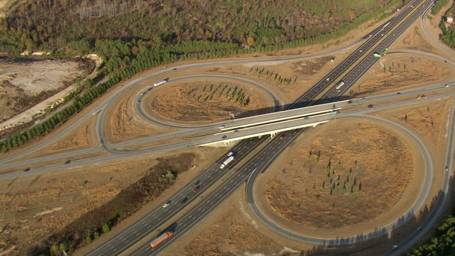 WS AERIAL View of Route 95 south with cars / South Carolina, United States