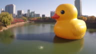 View of Rubber Duck(Project for healing wounds and reliving tension) on the Seokchonhosu lake at Jamsil