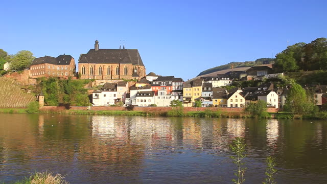 WS View of Saar Valley with old town and church St. Laurentius / Saarburg, Rhineland Palatinate, Germany