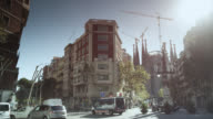 WS PAN View of sagrada familia street / Barcelona, Catalunya, Spain